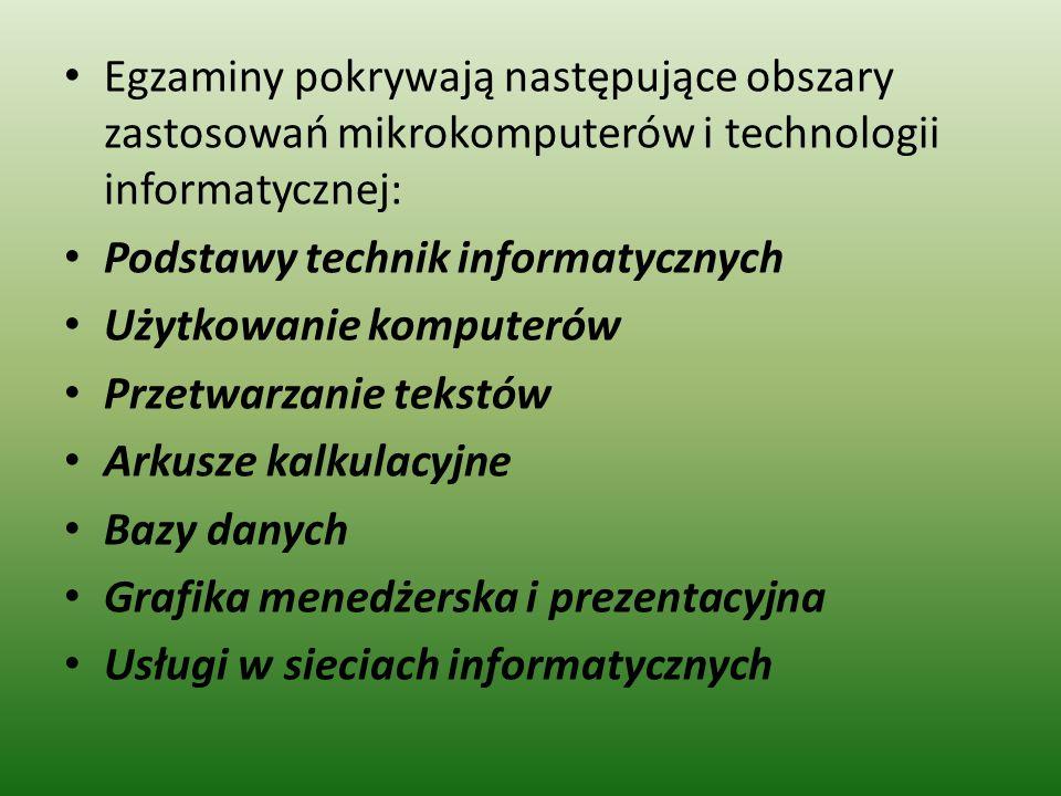 Egzaminy pokrywają następujące obszary zastosowań mikrokomputerów i technologii informatycznej: Podstawy technik informatycznych Użytkowanie komputerów Przetwarzanie tekstów Arkusze kalkulacyjne Bazy danych Grafika menedżerska i prezentacyjna Usługi w sieciach informatycznych