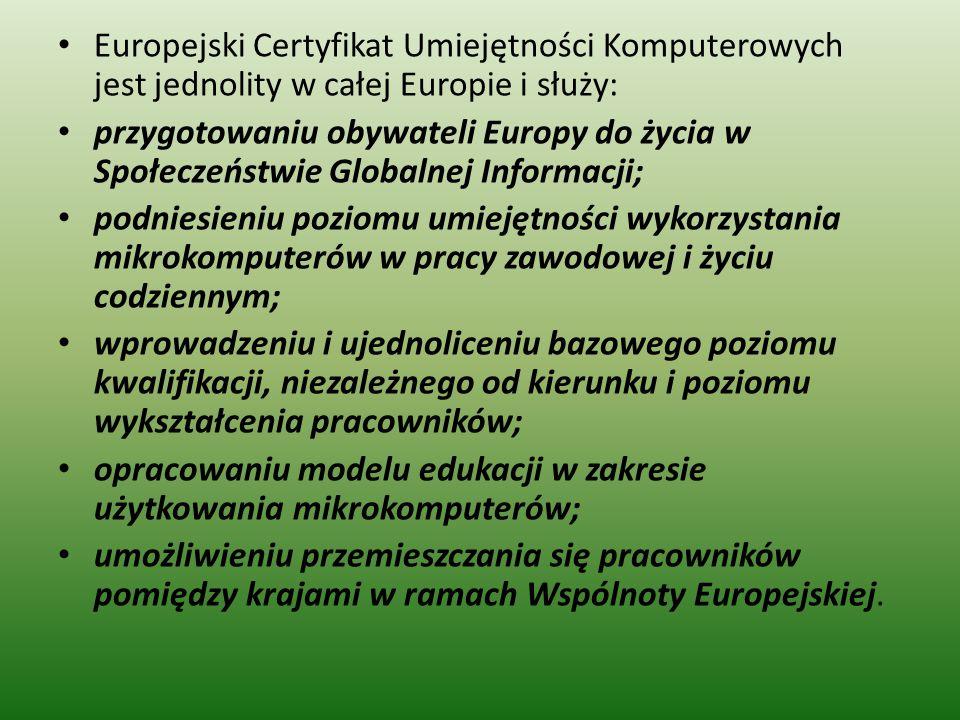 Europejski Certyfikat Umiejętności Komputerowych jest jednolity w całej Europie i służy: przygotowaniu obywateli Europy do życia w Społeczeństwie Globalnej Informacji; podniesieniu poziomu umiejętności wykorzystania mikrokomputerów w pracy zawodowej i życiu codziennym; wprowadzeniu i ujednoliceniu bazowego poziomu kwalifikacji, niezależnego od kierunku i poziomu wykształcenia pracowników; opracowaniu modelu edukacji w zakresie użytkowania mikrokomputerów; umożliwieniu przemieszczania się pracowników pomiędzy krajami w ramach Wspólnoty Europejskiej.