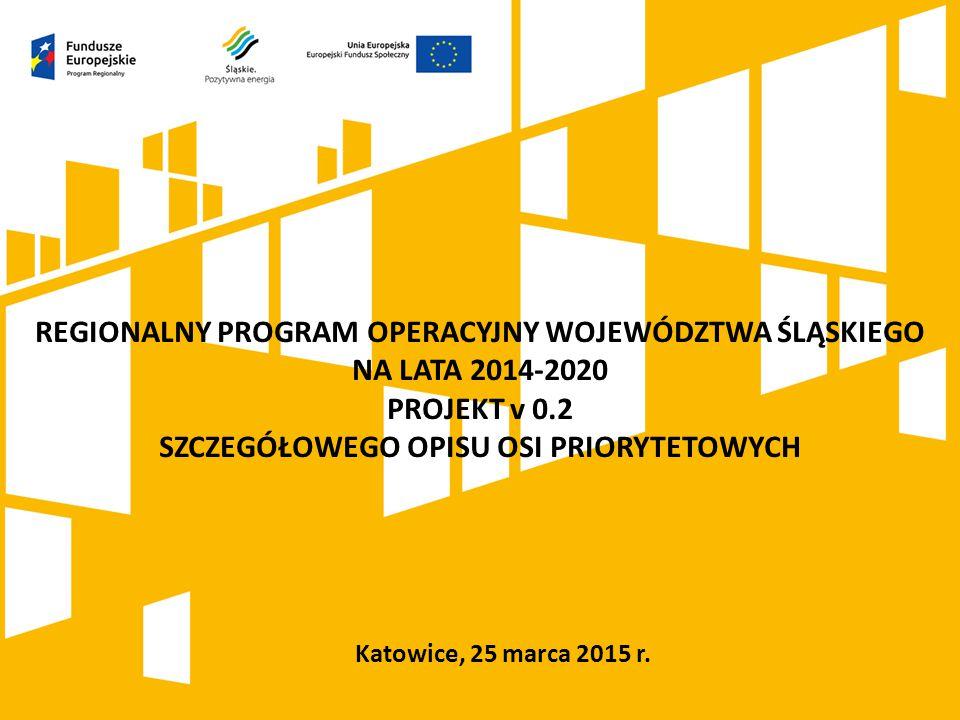 Katowice, 25 marca 2015 r. REGIONALNY PROGRAM OPERACYJNY WOJEWÓDZTWA ŚLĄSKIEGO NA LATA 2014-2020 PROJEKT v 0.2 SZCZEGÓŁOWEGO OPISU OSI PRIORYTETOWYCH
