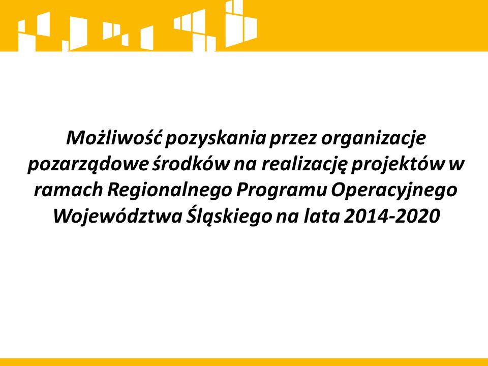 Możliwość pozyskania przez organizacje pozarządowe środków na realizację projektów w ramach Regionalnego Programu Operacyjnego Województwa Śląskiego n