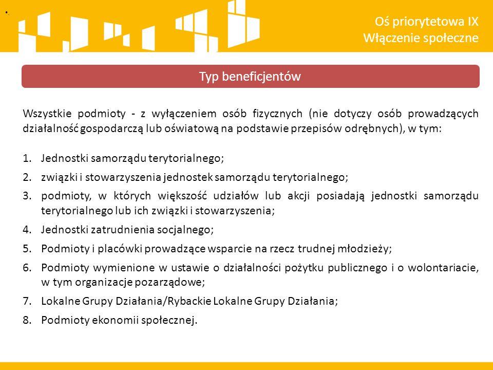 . Typ beneficjentów Wszystkie podmioty - z wyłączeniem osób fizycznych (nie dotyczy osób prowadzących działalność gospodarczą lub oświatową na podstaw