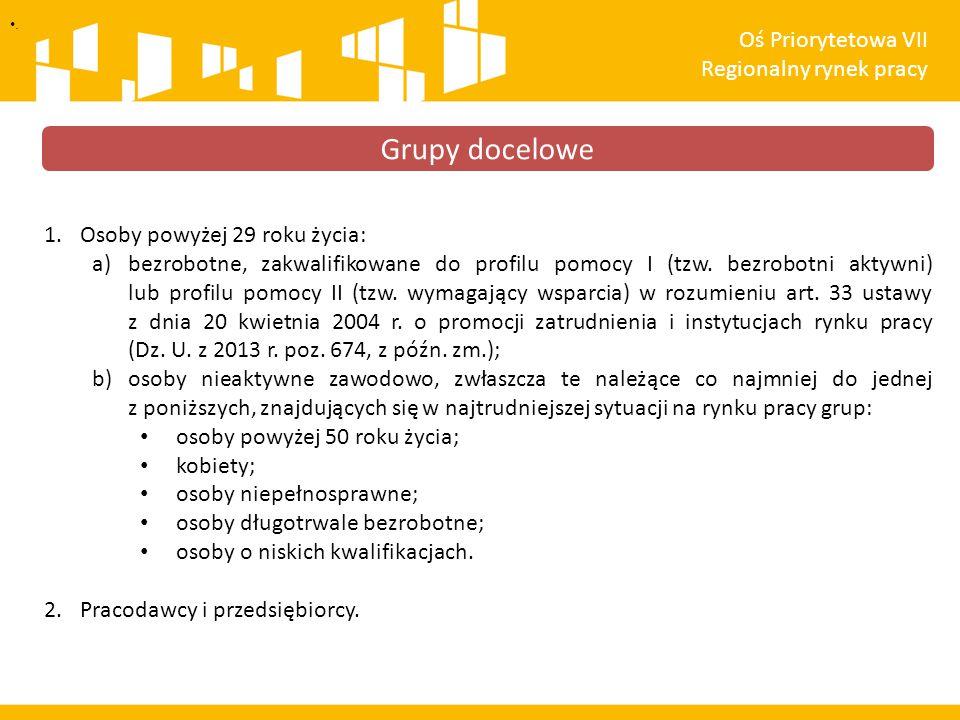 1.Osoby powyżej 29 roku życia: a)bezrobotne, zakwalifikowane do profilu pomocy I (tzw. bezrobotni aktywni) lub profilu pomocy II (tzw. wymagający wspa