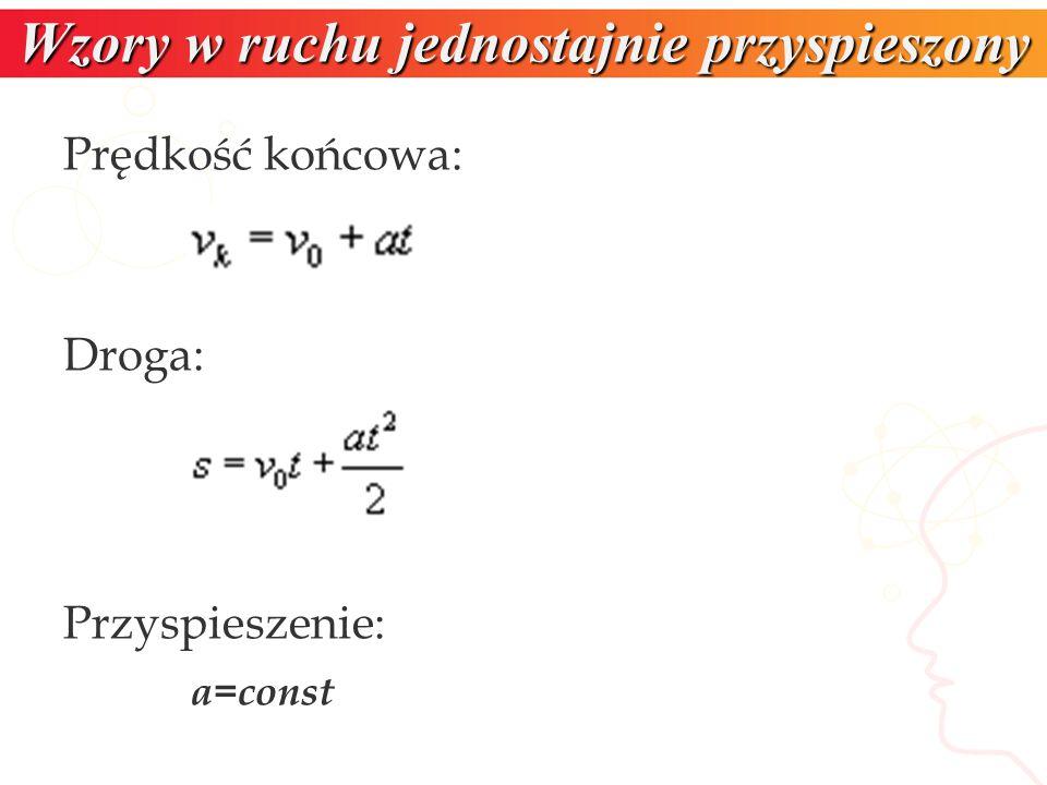 Wzory w ruchu jednostajnie przyspieszony Prędkość końcowa: Droga: Przyspieszenie: a=const