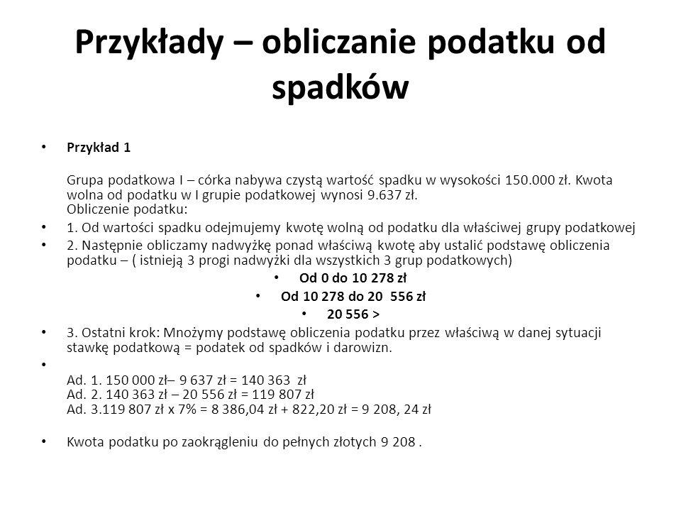 Przykłady – obliczanie podatku od spadków Przykład 1 Grupa podatkowa I – córka nabywa czystą wartość spadku w wysokości 150.000 zł.
