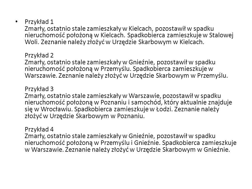 Przykład 1 Zmarły, ostatnio stale zamieszkały w Kielcach, pozostawił w spadku nieruchomość położoną w Kielcach. Spadkobierca zamieszkuje w Stalowej Wo