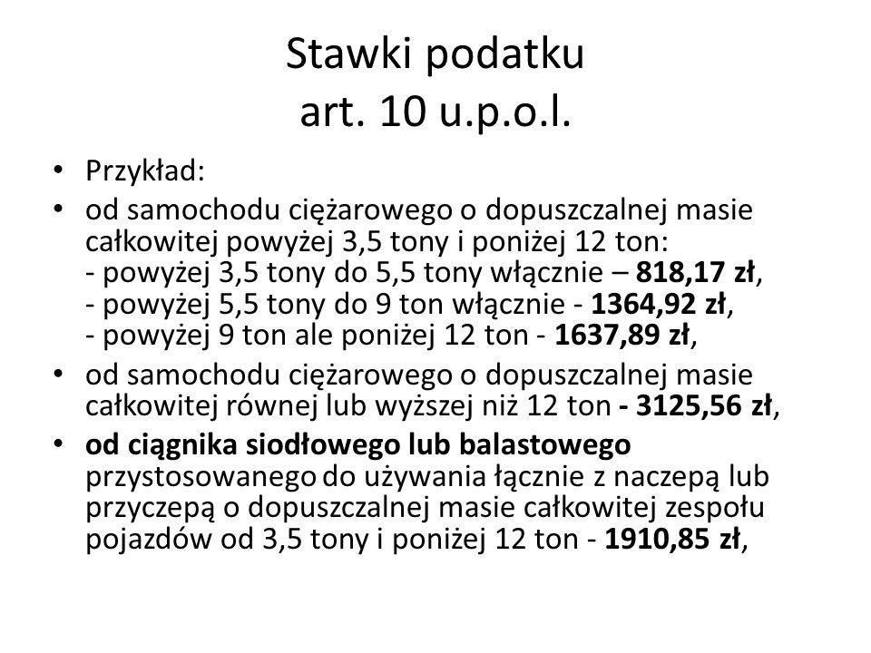 Stawki podatku art.10 u.p.o.l.