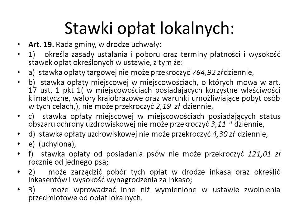 Stawki opłat lokalnych: Art.19.