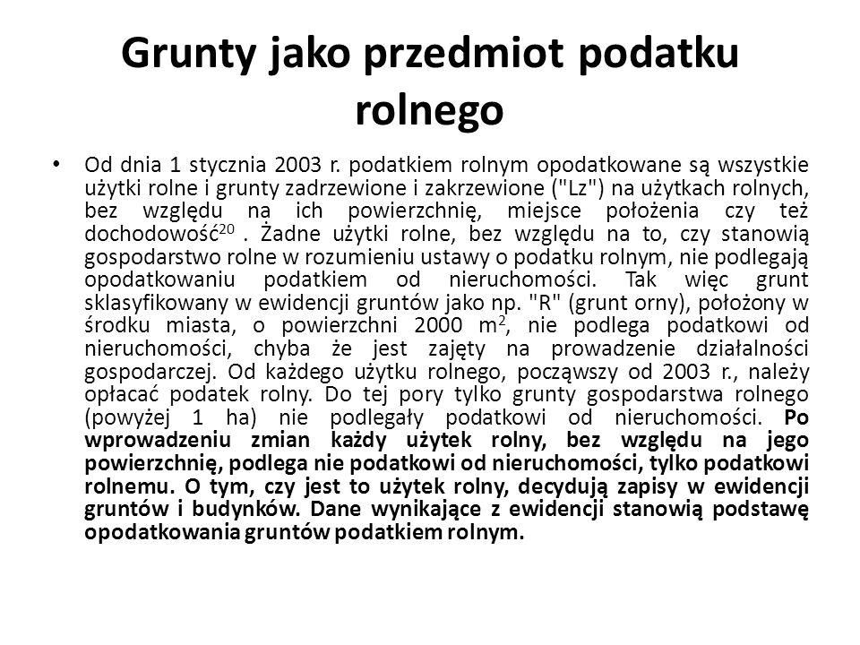 Grunty jako przedmiot podatku rolnego Od dnia 1 stycznia 2003 r.