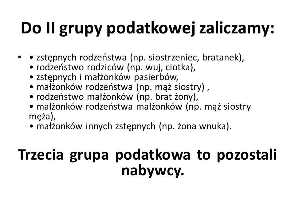 Przykład 3 Grupa podatkowa III – osoba obca nabywa czystą wartość spadku w wysokości 350 000 zł.