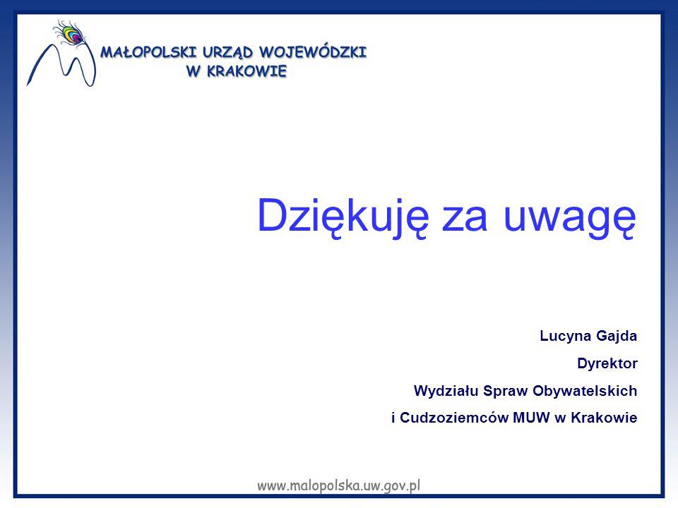 Dziękuję za uwagę Lucyna Gajda Dyrektor Wydziału Spraw Obywatelskich i Cudzoziemców MUW w Krakowie
