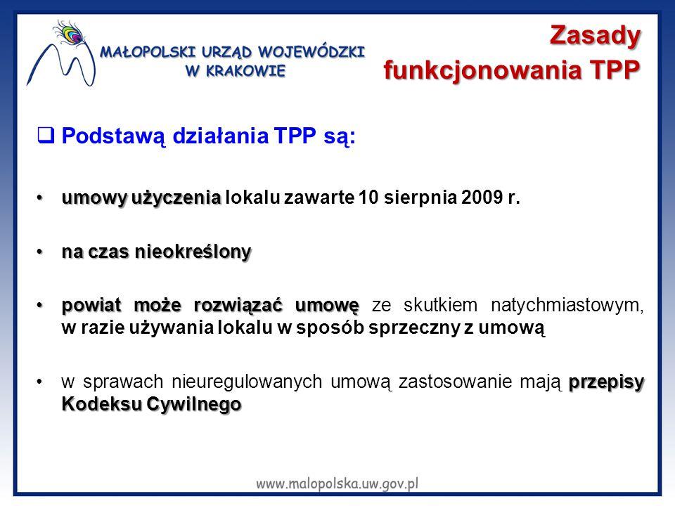 Zasady funkcjonowania TPP  Podstawą działania TPP są: umowy użyczeniaumowy użyczenia lokalu zawarte 10 sierpnia 2009 r. na czas nieokreślonyna czas n