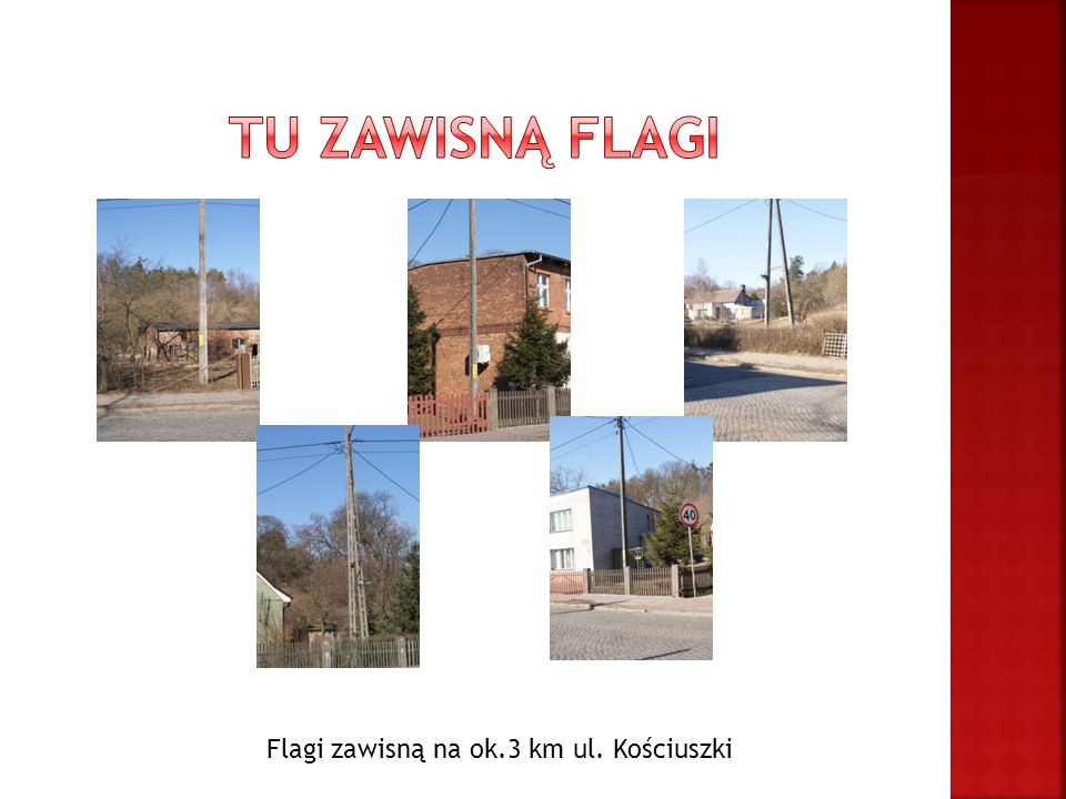 Flagi zawisną na ok.3 km ul. Kościuszki