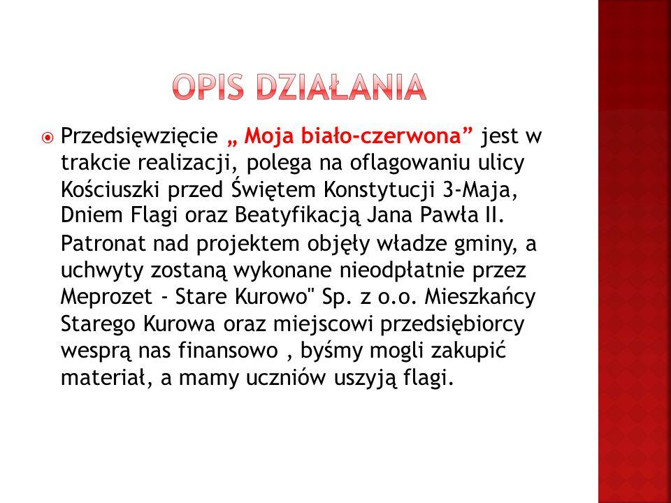 """ Przedsięwzięcie """" Moja biało-czerwona jest w trakcie realizacji, polega na oflagowaniu ulicy Kościuszki przed Świętem Konstytucji 3-Maja, Dniem Flagi oraz Beatyfikacją Jana Pawła II."""