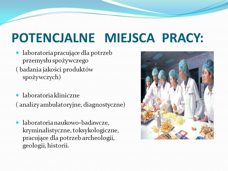 POTENCJALNE MIEJSCA PRACY: laboratoria pracujące dla potrzeb przemysłu spożywczego ( badania jakości produktów spożywczych) laboratoria kliniczne ( an