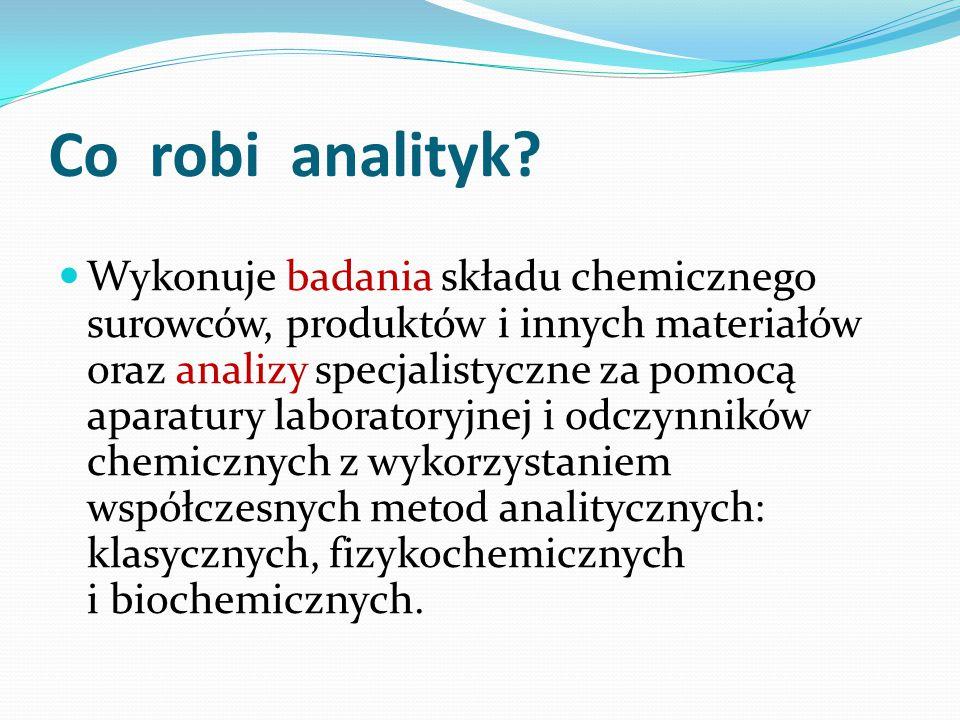 Co robi analityk? Wykonuje badania składu chemicznego surowców, produktów i innych materiałów oraz analizy specjalistyczne za pomocą aparatury laborat