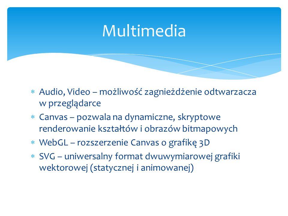  Audio, Video – możliwość zagnieżdżenie odtwarzacza w przeglądarce  Canvas – pozwala na dynamiczne, skryptowe renderowanie kształtów i obrazów bitmapowych  WebGL – rozszerzenie Canvas o grafikę 3D  SVG – uniwersalny format dwuwymiarowej grafiki wektorowej (statycznej i animowanej) Multimedia
