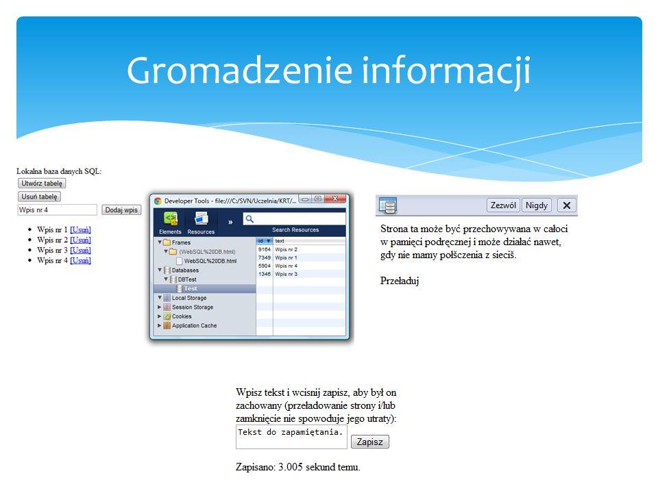  WebSocket  Cross-Document messaging  Serwer-Sent Events  Geolocation  Notifications  WebWorkers Łączność i realizacja zadań