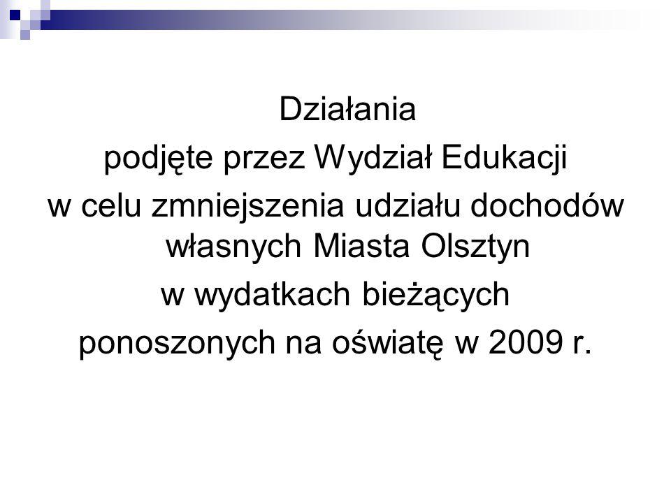 Działania podjęte przez Wydział Edukacji w celu zmniejszenia udziału dochodów własnych Miasta Olsztyn w wydatkach bieżących ponoszonych na oświatę w 2009 r.
