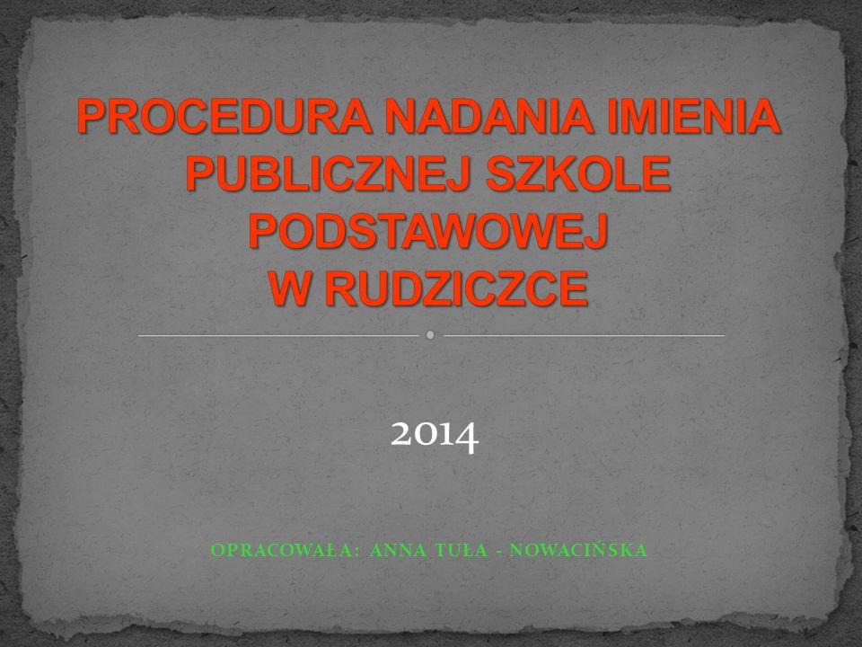 OPRACOWAŁA: ANNA TUŁA - NOWACIŃSKA 2014