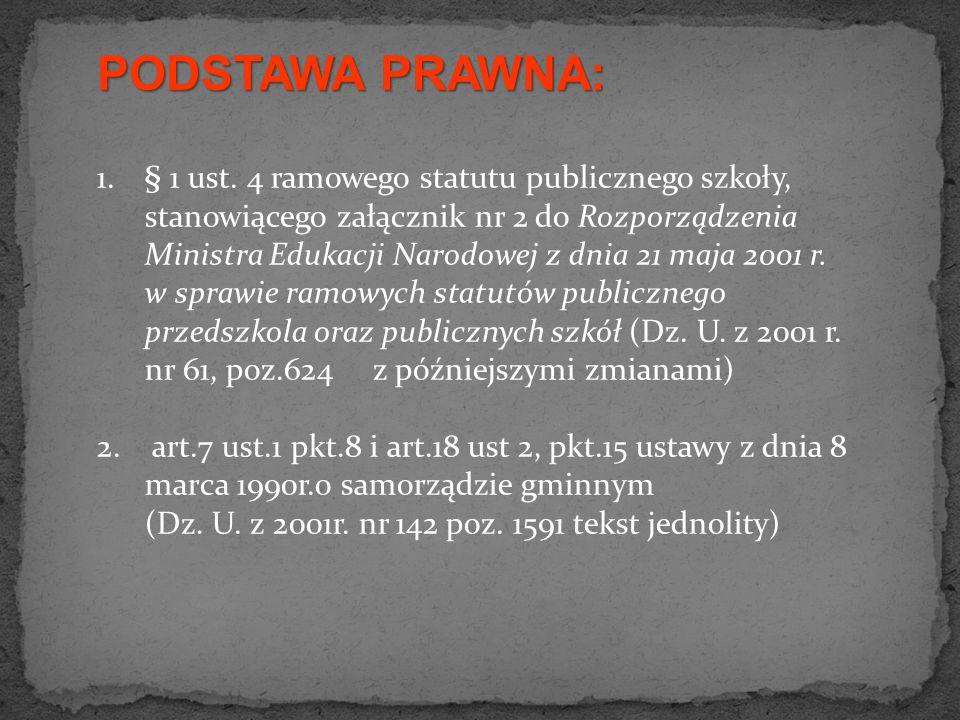 PODSTAWA PRAWNA: 1.§ 1 ust. 4 ramowego statutu publicznego szkoły, stanowiącego załącznik nr 2 do Rozporządzenia Ministra Edukacji Narodowej z dnia 21