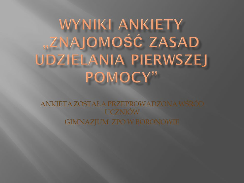 A nkieta została przeprowadzona w dniu 31 stycznia 2010 roku wśród uczniów Gimnazjum Zespołu Placówek Oświatowych w Boronowie.