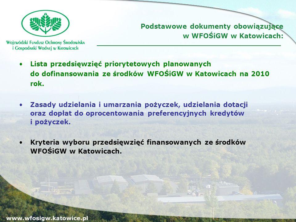 Lista przedsięwzięć priorytetowych planowanych do dofinansowania ze środków WFOŚiGW w Katowicach na 2010 rok.