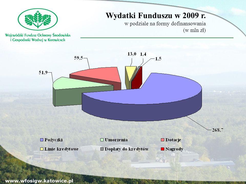 Wydatki Funduszu w 2009 r. w podziale na formy dofinansowania (w mln zł)