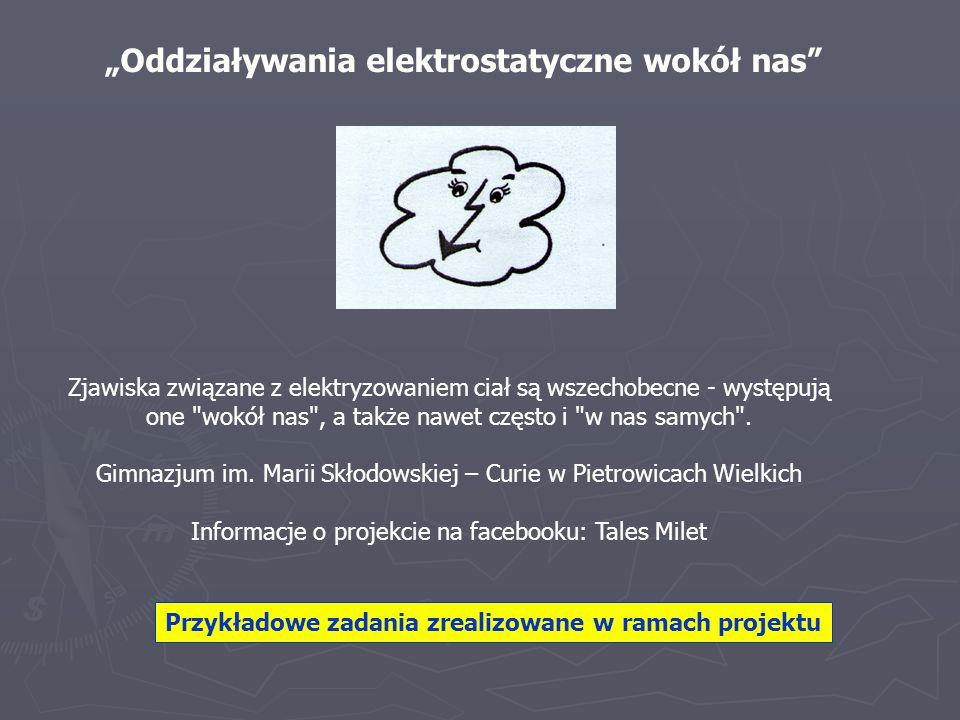 """""""Oddziaływania elektrostatyczne wokół nas"""" Zjawiska związane z elektryzowaniem ciał są wszechobecne - występują one"""