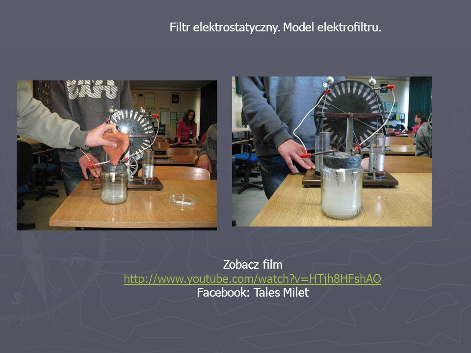 Filtr elektrostatyczny. Model elektrofiltru. Zobacz film http://www.youtube.com/watch?v=HTjh8HFshAQ Facebook: Tales Milet