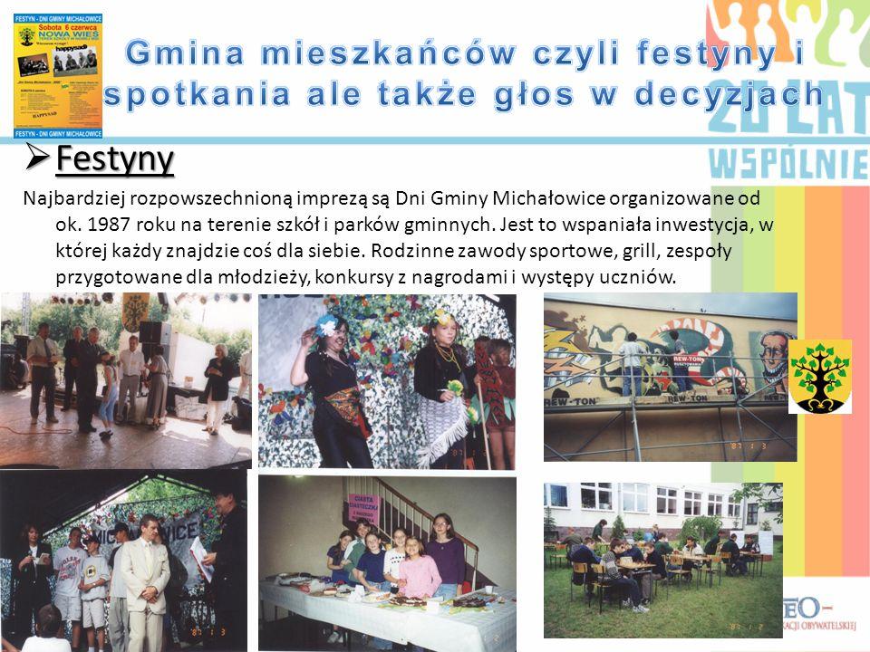  Festyny Najbardziej rozpowszechnioną imprezą są Dni Gminy Michałowice organizowane od ok. 1987 roku na terenie szkół i parków gminnych. Jest to wspa