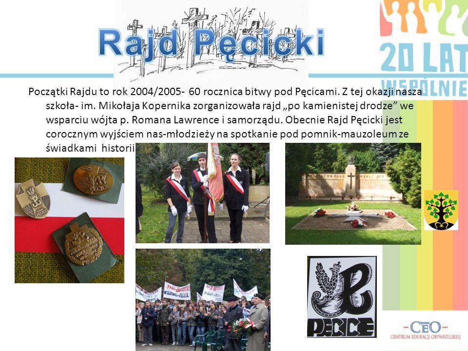 """Początki Rajdu to rok 2004/2005- 60 rocznica bitwy pod Pęcicami. Z tej okazji nasza szkoła- im. Mikołaja Kopernika zorganizowała rajd """"po kamienistej"""