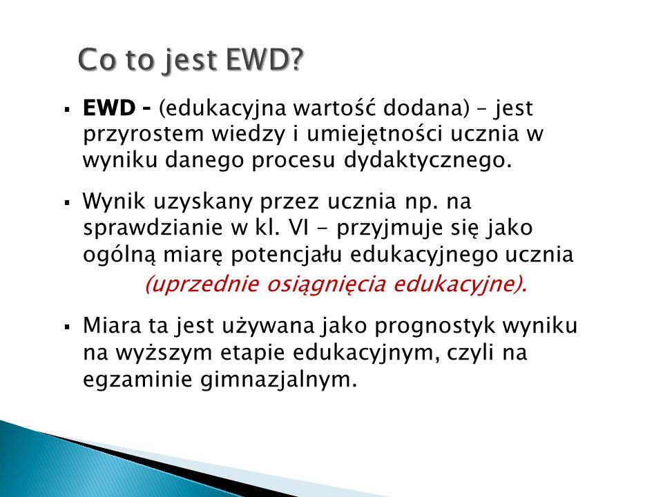  EWD - (edukacyjna wartość dodana) – jest przyrostem wiedzy i umiejętności ucznia w wyniku danego procesu dydaktycznego.  Wynik uzyskany przez uczni
