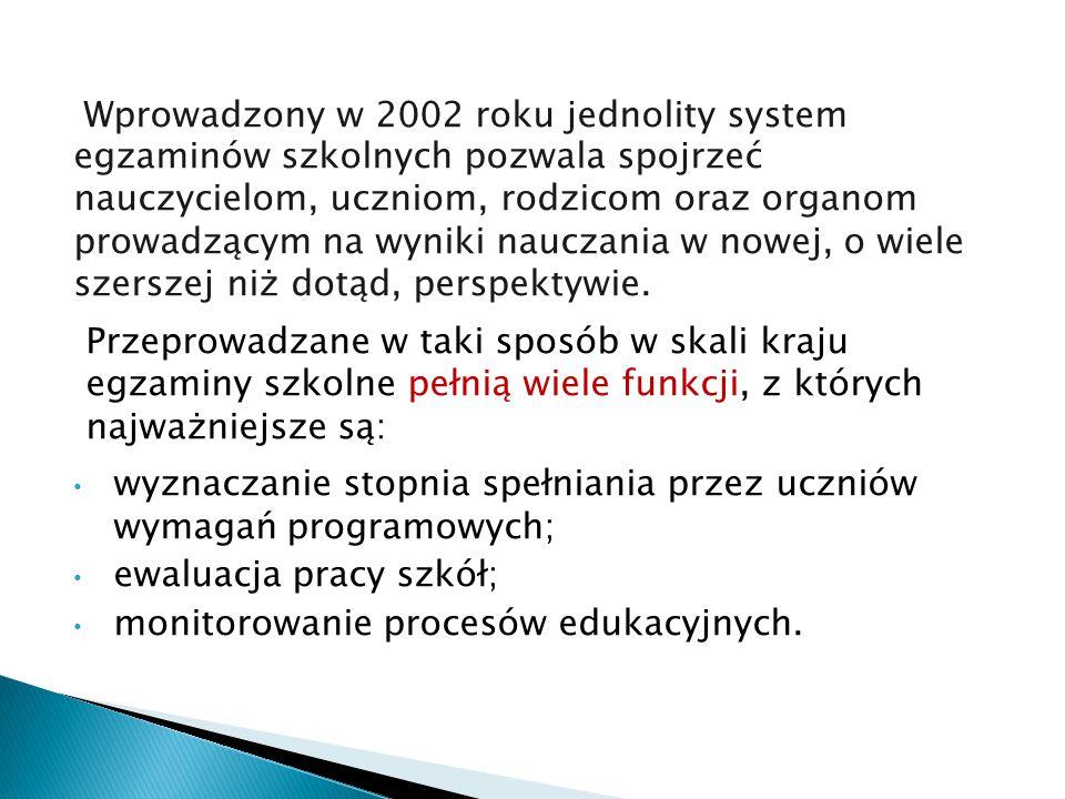 Wprowadzony w 2002 roku jednolity system egzaminów szkolnych pozwala spojrzeć nauczycielom, uczniom, rodzicom oraz organom prowadzącym na wyniki naucz