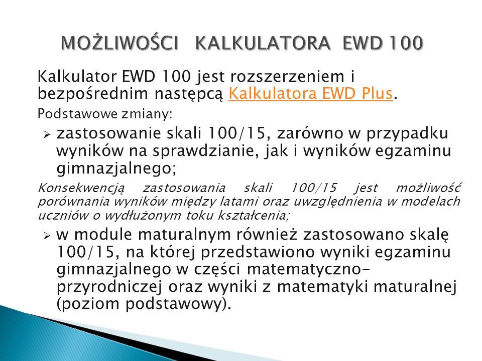 Kalkulator EWD 100 jest rozszerzeniem i bezpośrednim następcą Kalkulatora EWD Plus.Kalkulatora EWD Plus Podstawowe zmiany:  zastosowanie skali 100/15