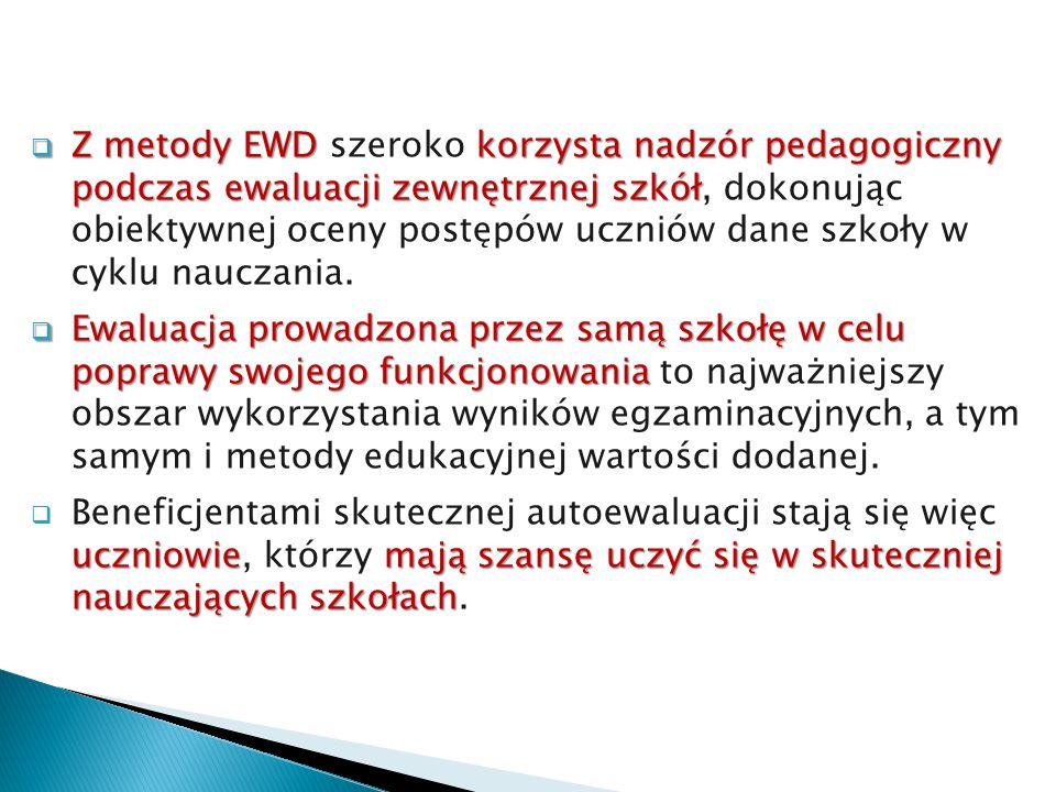  Z metody EWDkorzysta nadzór pedagogiczny podczas ewaluacji zewnętrznej szkół  Z metody EWD szeroko korzysta nadzór pedagogiczny podczas ewaluacji z