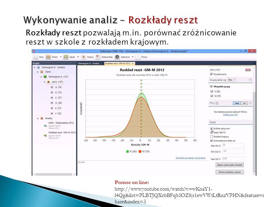 Rozkłady reszt pozwalają m.in. porównać zróżnicowanie reszt w szkole z rozkładem krajowym. Pomoc on line: http://www.youtube.com/watch?v=wKoaY1- l4Qg&