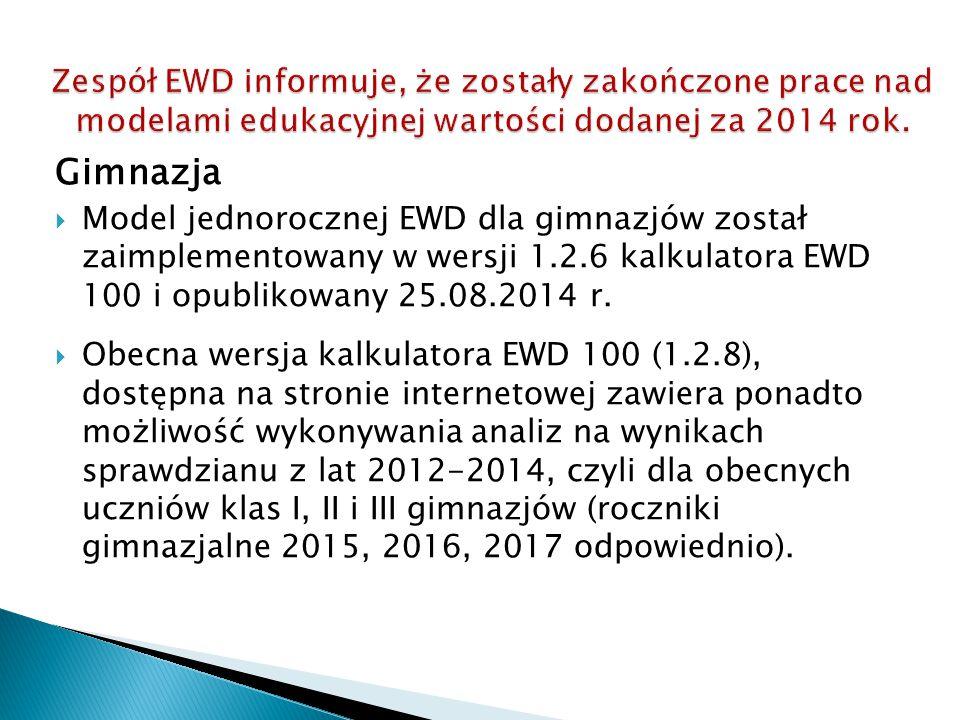 Gimnazja  Model jednorocznej EWD dla gimnazjów został zaimplementowany w wersji 1.2.6 kalkulatora EWD 100 i opublikowany 25.08.2014 r.  Obecna wersj