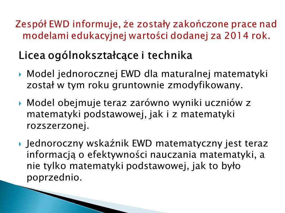 Licea ogólnokształcące i technika  Model jednorocznej EWD dla maturalnej matematyki został w tym roku gruntownie zmodyfikowany.  Model obejmuje tera
