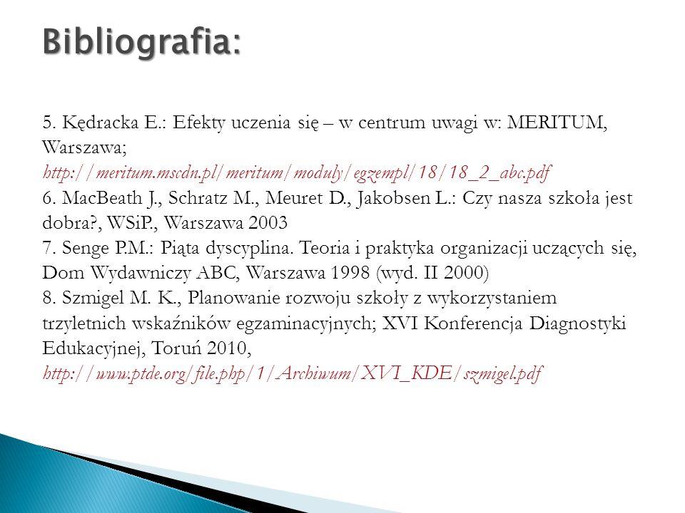 5. Kędracka E.: Efekty uczenia się – w centrum uwagi w: MERITUM, Warszawa; http://meritum.mscdn.pl/meritum/moduly/egzempl/18/18_2_abc.pdf 6. MacBeath
