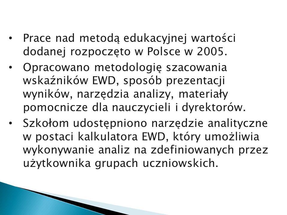 Prace nad metodą edukacyjnej wartości dodanej rozpoczęto w Polsce w 2005. Opracowano metodologię szacowania wskaźników EWD, sposób prezentacji wyników