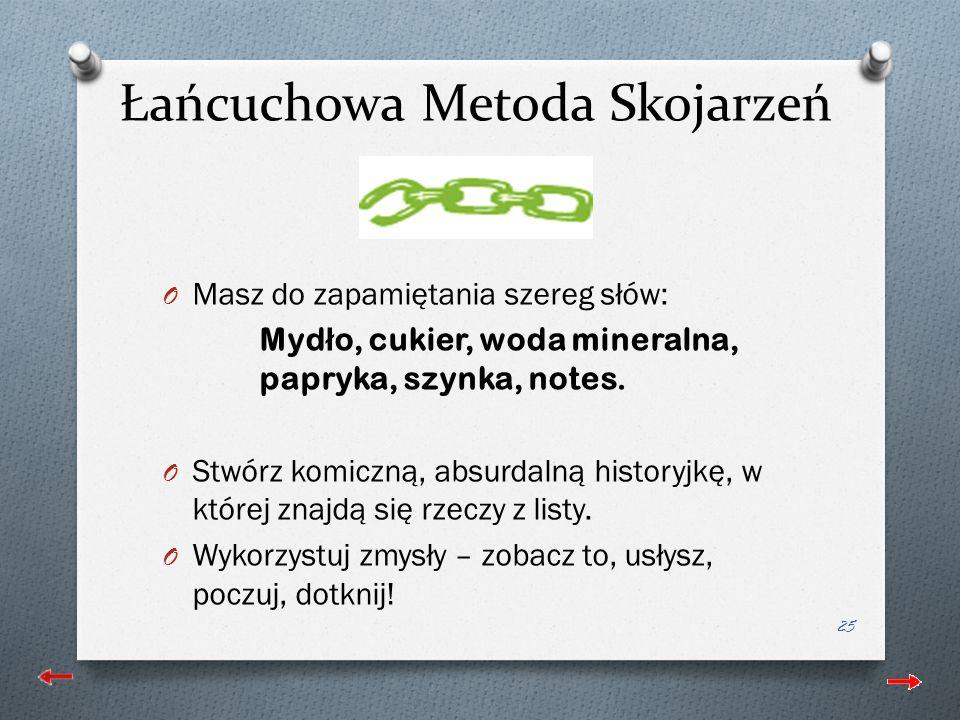 Łańcuchowa Metoda Skojarzeń O Masz do zapamiętania szereg słów: Myd ł o, cukier, woda mineralna, papryka, szynka, notes.