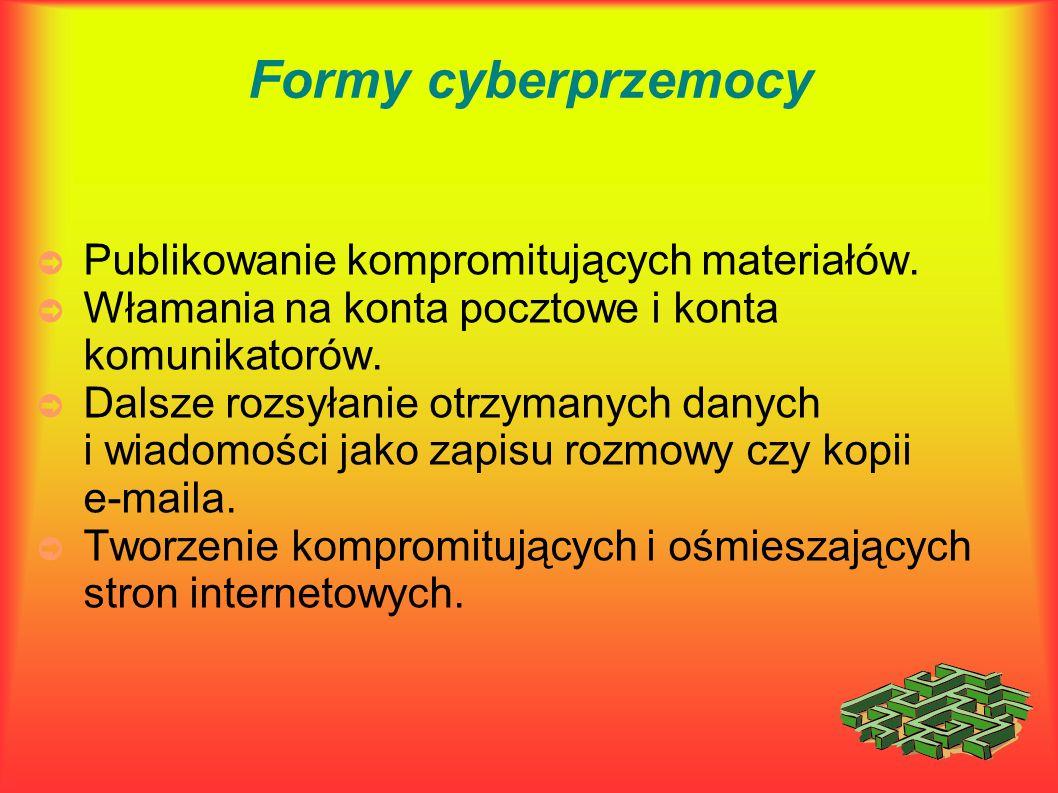 Formy cyberprzemocy ➲ Publikowanie kompromitujących materiałów. ➲ Włamania na konta pocztowe i konta komunikatorów. ➲ Dalsze rozsyłanie otrzymanych da