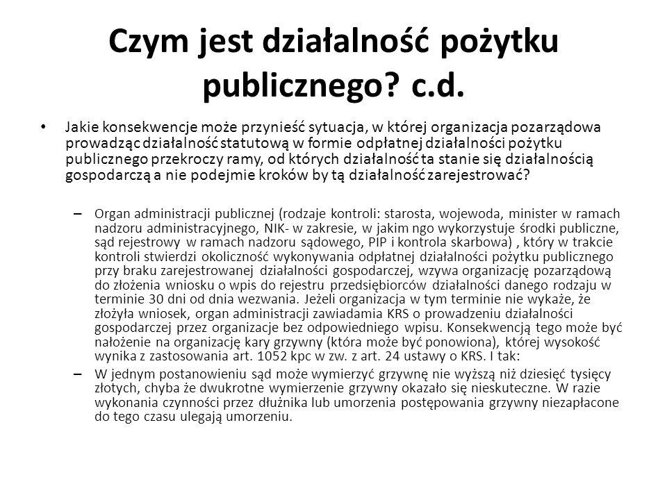 Czym jest działalność pożytku publicznego? c.d. Jakie konsekwencje może przynieść sytuacja, w której organizacja pozarządowa prowadząc działalność sta