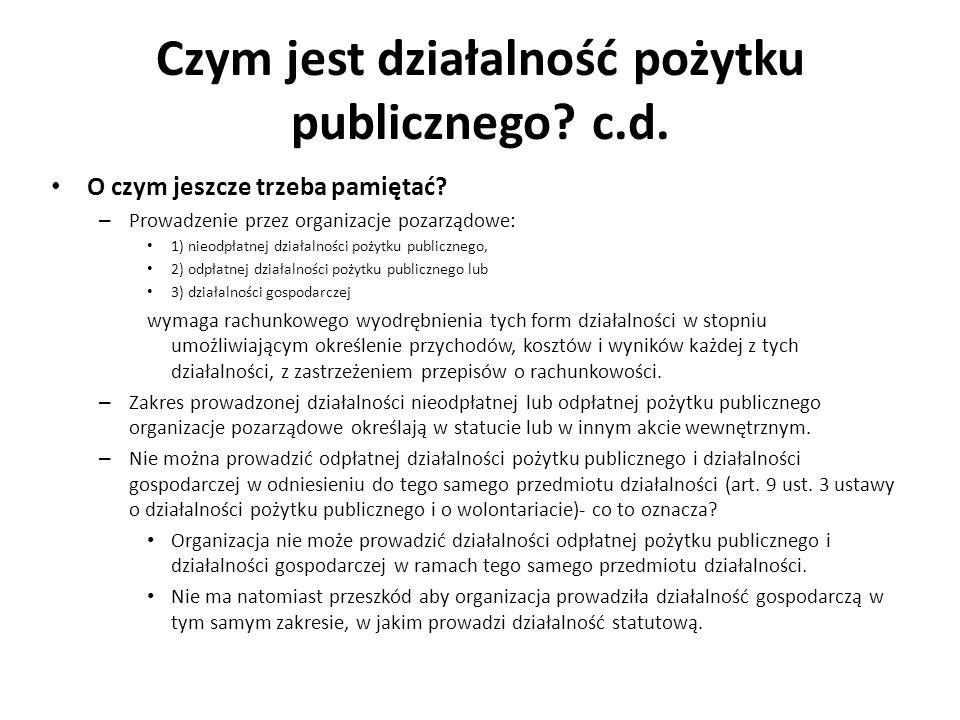 Czym jest działalność pożytku publicznego? c.d. O czym jeszcze trzeba pamiętać? – Prowadzenie przez organizacje pozarządowe: 1) nieodpłatnej działalno