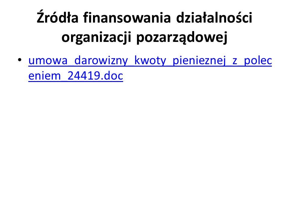 Źródła finansowania działalności organizacji pozarządowej umowa_darowizny_kwoty_pienieznej_z_polec eniem_24419.doc umowa_darowizny_kwoty_pienieznej_z_