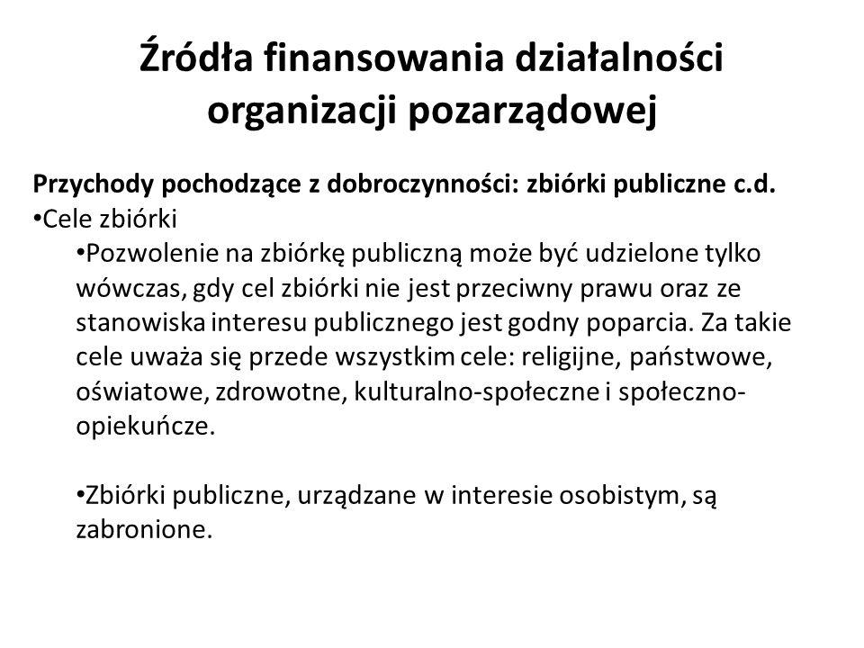 Źródła finansowania działalności organizacji pozarządowej Przychody pochodzące z dobroczynności: zbiórki publiczne c.d. Cele zbiórki Pozwolenie na zbi