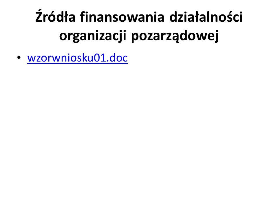 Źródła finansowania działalności organizacji pozarządowej wzorwniosku01.doc