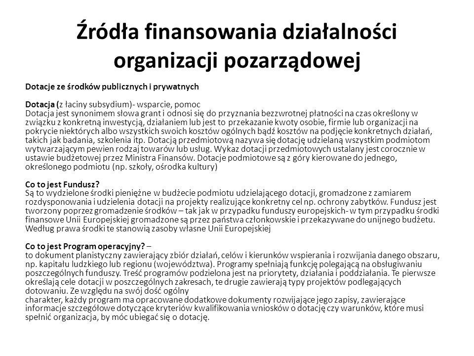 Dotacje ze środków publicznych i prywatnych Dotacja (z łaciny subsydium)- wsparcie, pomoc Dotacja jest synonimem słowa grant i odnosi się do przyznani