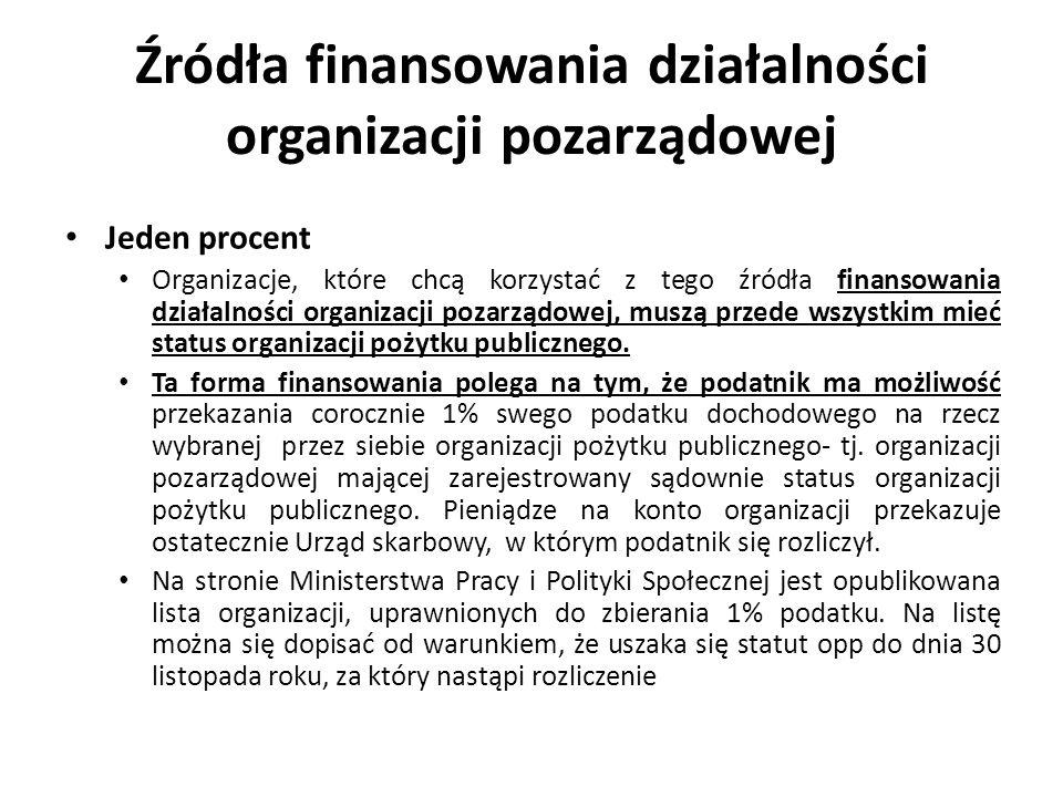 Źródła finansowania działalności organizacji pozarządowej Jeden procent Organizacje, które chcą korzystać z tego źródła finansowania działalności orga