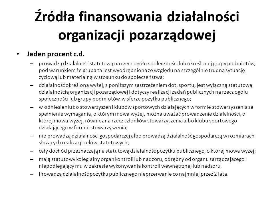 Źródła finansowania działalności organizacji pozarządowej Jeden procent c.d. – prowadzą działalność statutową na rzecz ogółu społeczności lub określon